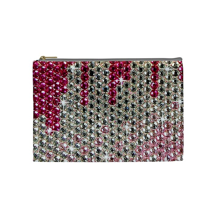 Mauve Gradient Rhinestones  Medium Makeup Purse