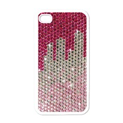 Mauve Gradient Rhinestones  White Apple Iphone 4 Case by artattack4all
