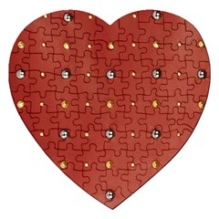 Studded Faux Leather Red Jigsaw Puzzle (heart) by artattack4all