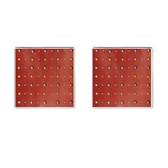 Studded Faux Leather Red Square Cuff Links by artattack4all