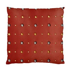 Studded Faux Leather Red Twin Sided Cushion Case by artattack4all