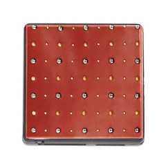 Studded Faux Leather Red Card Reader With Storage (square) by artattack4all