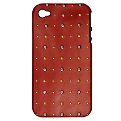 Studded Faux Leather Red Apple Iphone 4/4s Hardshell Case (pc+silicone) by artattack4all