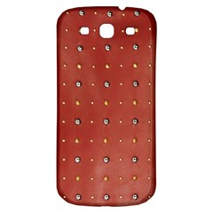 Studded Faux Leather Red Samsung Galaxy S3 S Iii Classic Hardshell Back Case by artattack4all