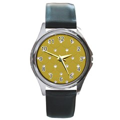 Gold Diamond Bling  Black Leather Watch (round) by artattack4all