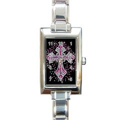 Hot Pink Rhinestone Cross Classic Elegant Ladies Watch (rectangle) by artattack4all