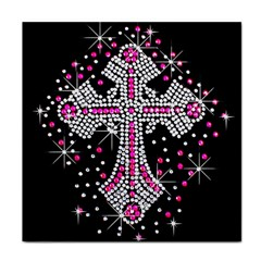 Hot Pink Rhinestone Cross Ceramic Tile by artattack4all