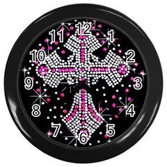 Hot Pink Rhinestone Cross Black Wall Clock by artattack4all