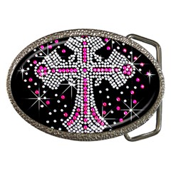 Hot Pink Rhinestone Cross Belt Buckle (oval) by artattack4all