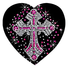 Hot Pink Rhinestone Cross Jigsaw Puzzle (heart) by artattack4all