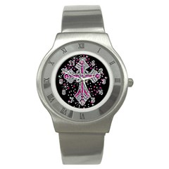 Hot Pink Rhinestone Cross Stainless Steel Watch (round) by artattack4all