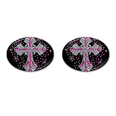 Hot Pink Rhinestone Cross Oval Cuff Links by artattack4all