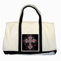 Hot Pink Rhinestone Cross Two Toned Tote Bag by artattack4all