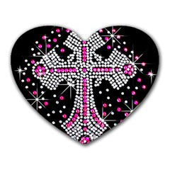 Hot Pink Rhinestone Cross Mouse Pad (heart) by artattack4all