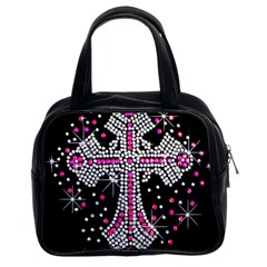Hot Pink Rhinestone Cross Twin Sided Satched Handbag by artattack4all