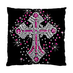 Hot Pink Rhinestone Cross Twin Sided Cushion Case by artattack4all