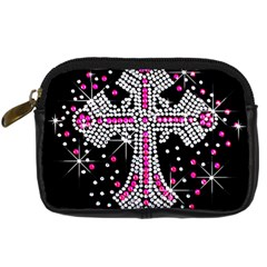 Hot Pink Rhinestone Cross Compact Camera Case by artattack4all
