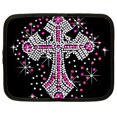 Hot Pink Rhinestone Cross 13  Netbook Case by artattack4all