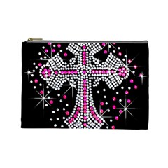 Hot Pink Rhinestone Cross Large Makeup Purse