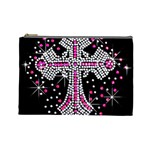Hot Pink Rhinestone Cross Large Makeup Purse Front