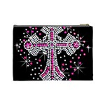 Hot Pink Rhinestone Cross Large Makeup Purse Back