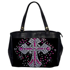 Hot Pink Rhinestone Cross Single Sided Oversized Handbag by artattack4all