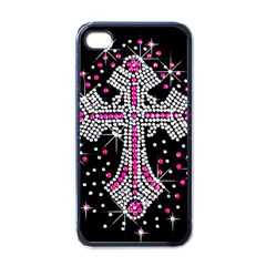 Hot Pink Rhinestone Cross Black Apple Iphone 4 Case by artattack4all