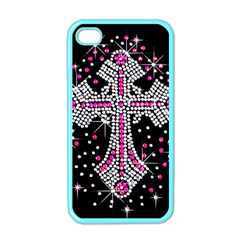 Hot Pink Rhinestone Cross Apple Iphone 4 Case (color) by artattack4all