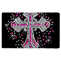 Hot Pink Rhinestone Cross Apple Ipad 3/4 Flip Case by artattack4all