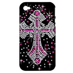 Hot Pink Rhinestone Cross Apple Iphone 4/4s Hardshell Case (pc+silicone) by artattack4all