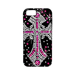 Hot Pink Rhinestone Cross Apple Iphone 5 Classic Hardshell Case (pc+silicone) by artattack4all