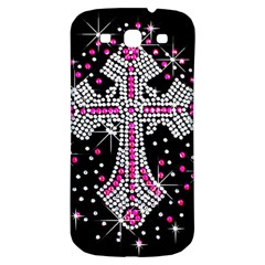 Hot Pink Rhinestone Cross Samsung Galaxy S3 S Iii Classic Hardshell Back Case by artattack4all