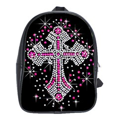 Hot Pink Rhinestone Cross School Bag (xl) by artattack4all