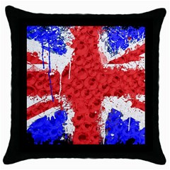 Distressed British Flag Bling Black Throw Pillow Case by artattack4all