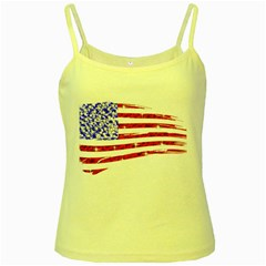 Sparkling American Flag Yellow Spaghetti Top by artattack4all