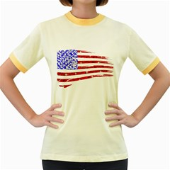 Sparkling American Flag Colored Ringer Womens  T Shirt by artattack4all