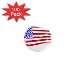 Sparkling American Flag 100 Pack Mini Magnet (round) by artattack4all