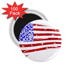 Sparkling American Flag 100 Pack Regular Magnet (round) by artattack4all
