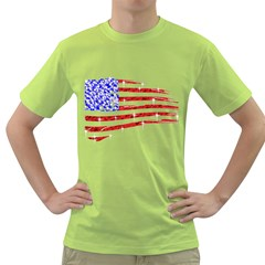 Sparkling American Flag Green Mens  T Shirt by artattack4all
