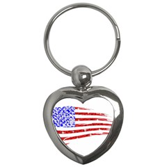 Sparkling American Flag Key Chain (heart) by artattack4all