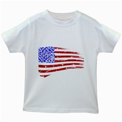 Sparkling American Flag White Kids'' T Shirt by artattack4all