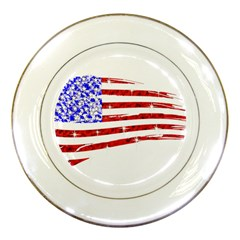 Sparkling American Flag Porcelain Display Plate by artattack4all