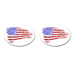 Sparkling American Flag Oval Cuff Links by artattack4all