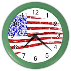 Sparkling American Flag Colored Wall Clock by artattack4all
