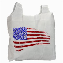 Sparkling American Flag Single Sided Reusable Shopping Bag by artattack4all