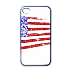 Sparkling American Flag Black Apple Iphone 4 Case by artattack4all