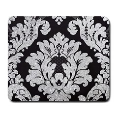 Diamond Bling Glitter On Damask Black Large Mouse Pad (rectangle) by artattack4all