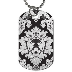 Diamond Bling Glitter On Damask Black Twin Sided Dog Tag by artattack4all