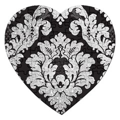 Diamond Bling Glitter On Damask Black Jigsaw Puzzle (heart) by artattack4all