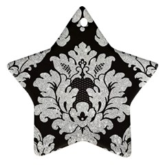 Diamond Bling Glitter On Damask Black Twin Sided Ceramic Ornament (star) by artattack4all